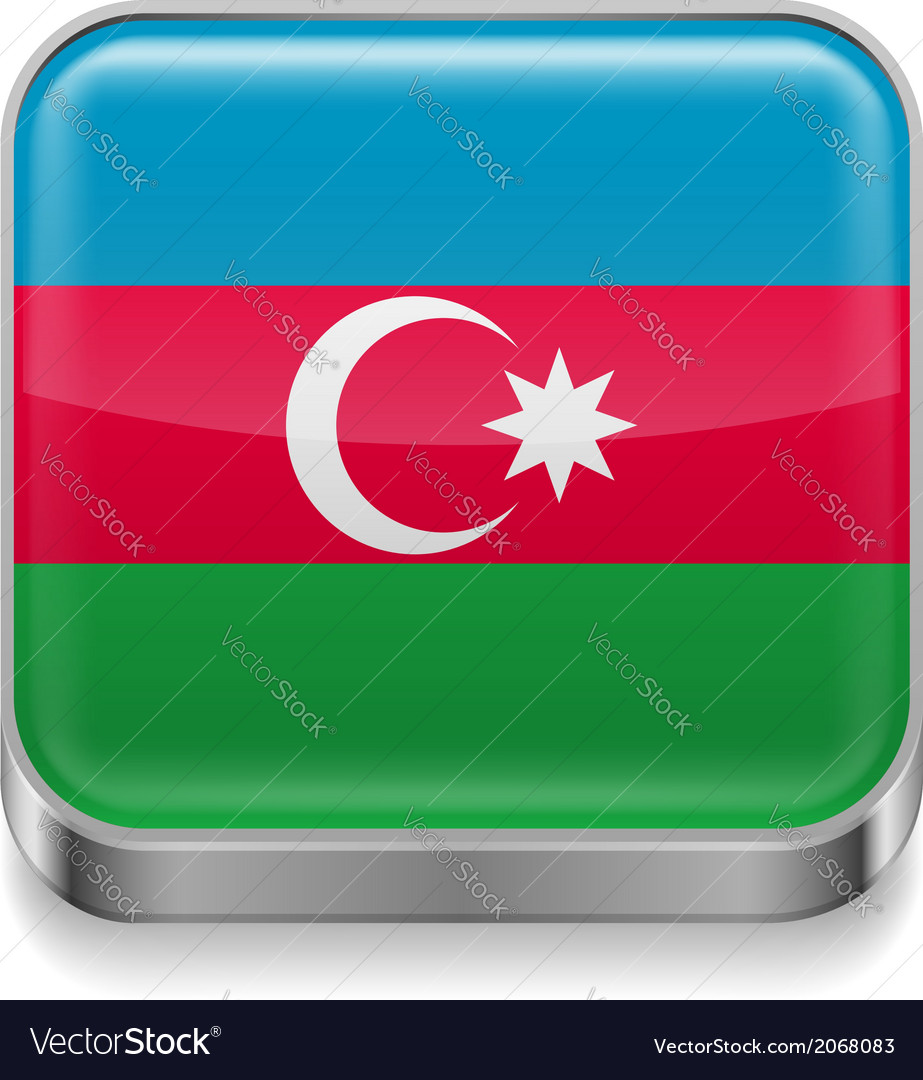Metal icon of azerbaijan vector | Price: 1 Credit (USD $1)