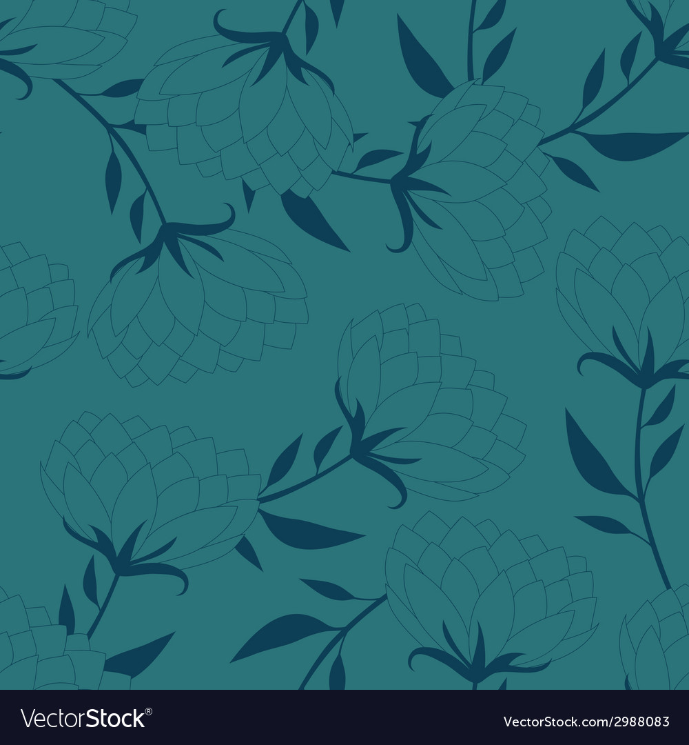 Old-fashioned flowers silhouette seamless vector | Price: 1 Credit (USD $1)