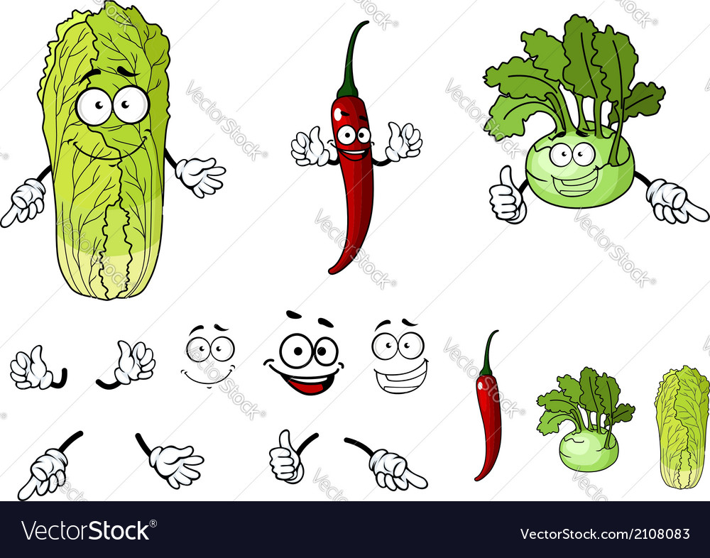 Pepper radish and cabbage cartoon vegetables vector | Price: 1 Credit (USD $1)