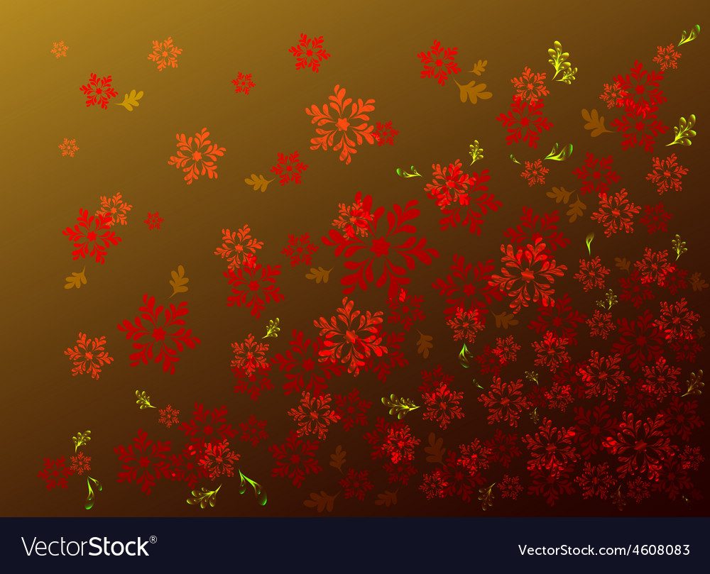 Red flowers on a golden base eps10 vector | Price: 1 Credit (USD $1)