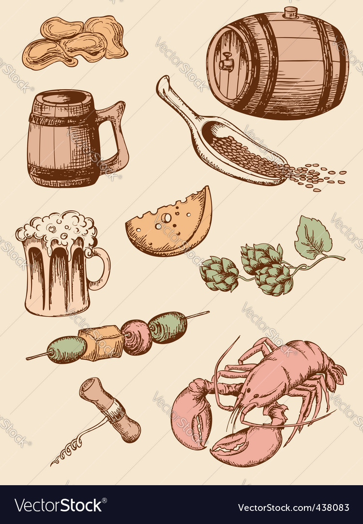 Set of vintage beer icons vector | Price: 1 Credit (USD $1)