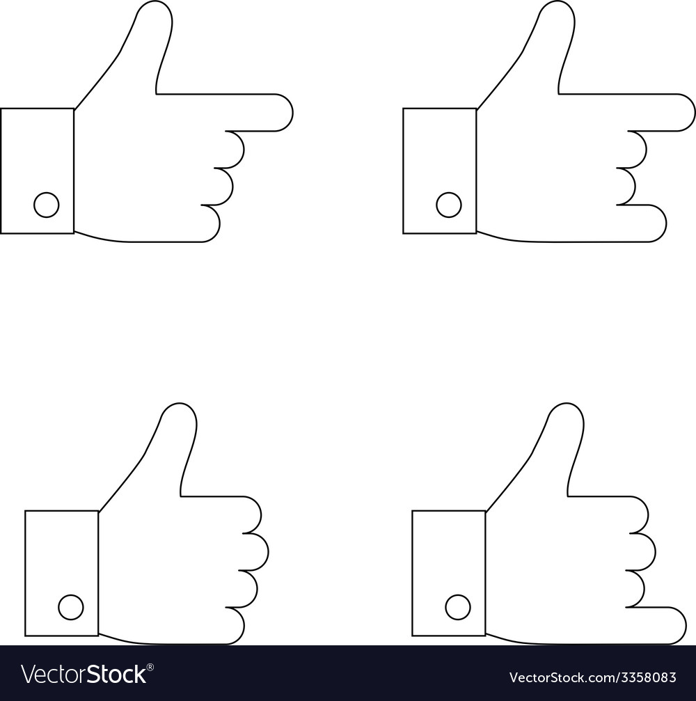 Thumbs up icon set thin line vector | Price: 1 Credit (USD $1)