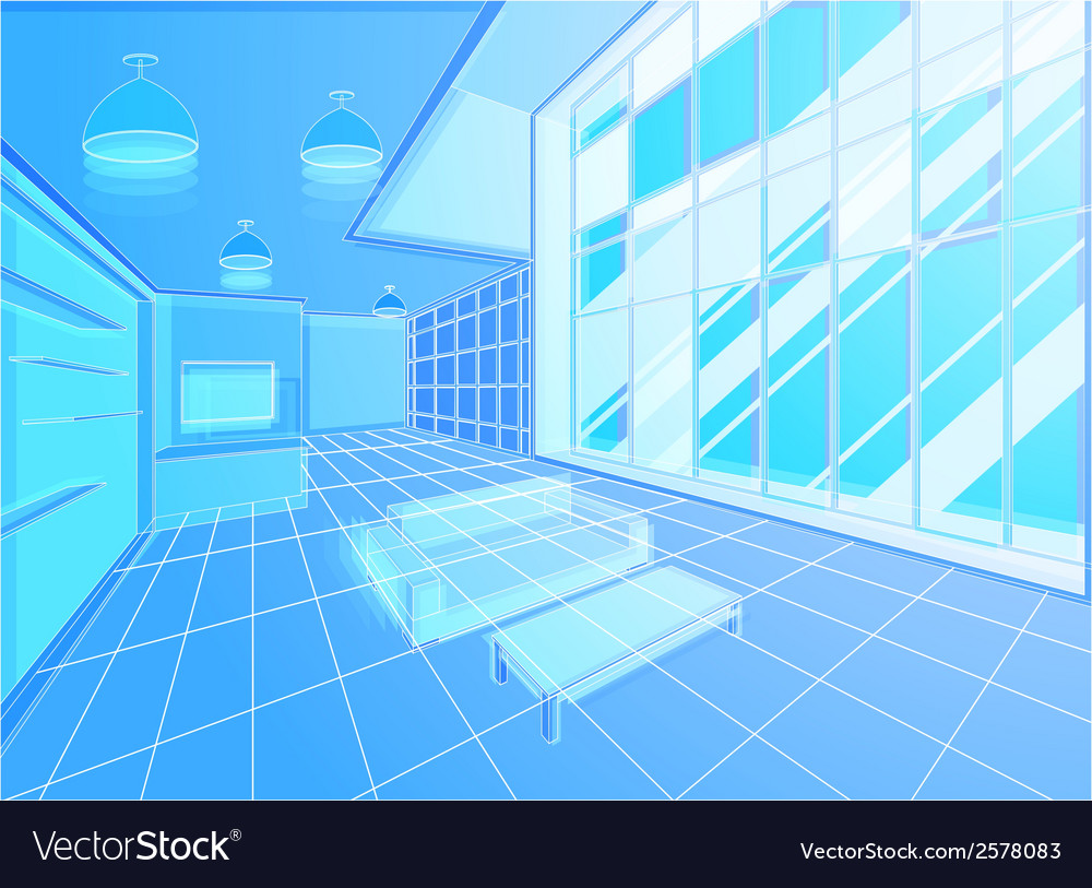 Wireframe living room vector | Price: 1 Credit (USD $1)