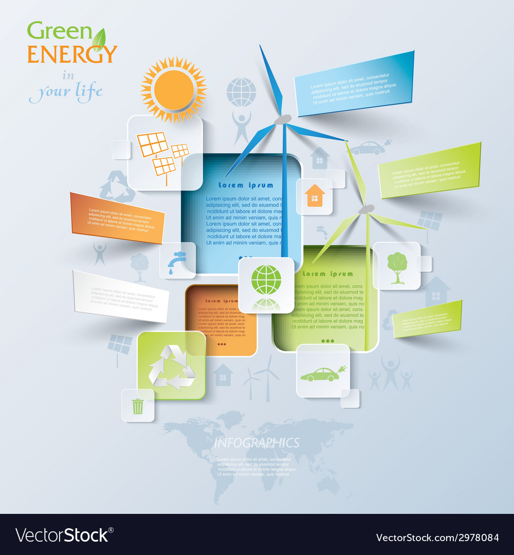 Abstract infographic with wind turbines green ener vector | Price: 1 Credit (USD $1)