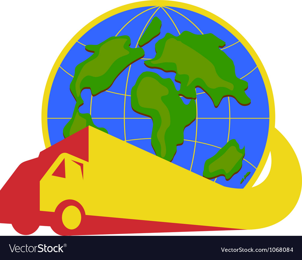 Delivery truck lorry globe retro vector | Price: 1 Credit (USD $1)