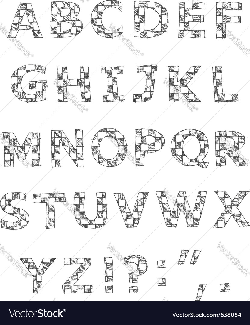 Hand written checkered alphabet vector | Price: 1 Credit (USD $1)