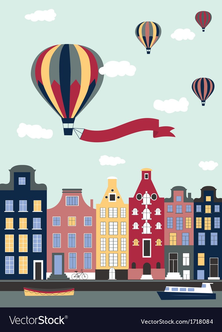Hot air balloons flying over the town vector | Price: 1 Credit (USD $1)