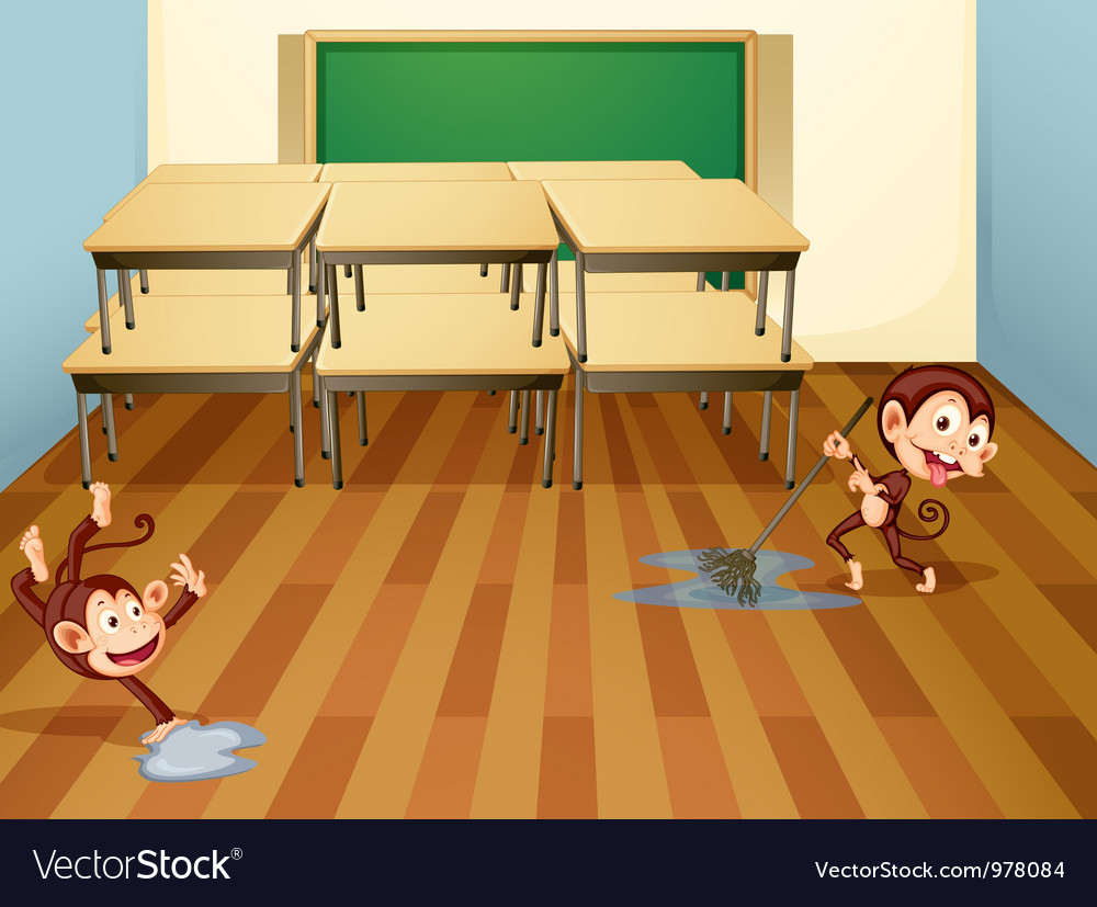 Monkeys cleaning classroom vector | Price: 1 Credit (USD $1)