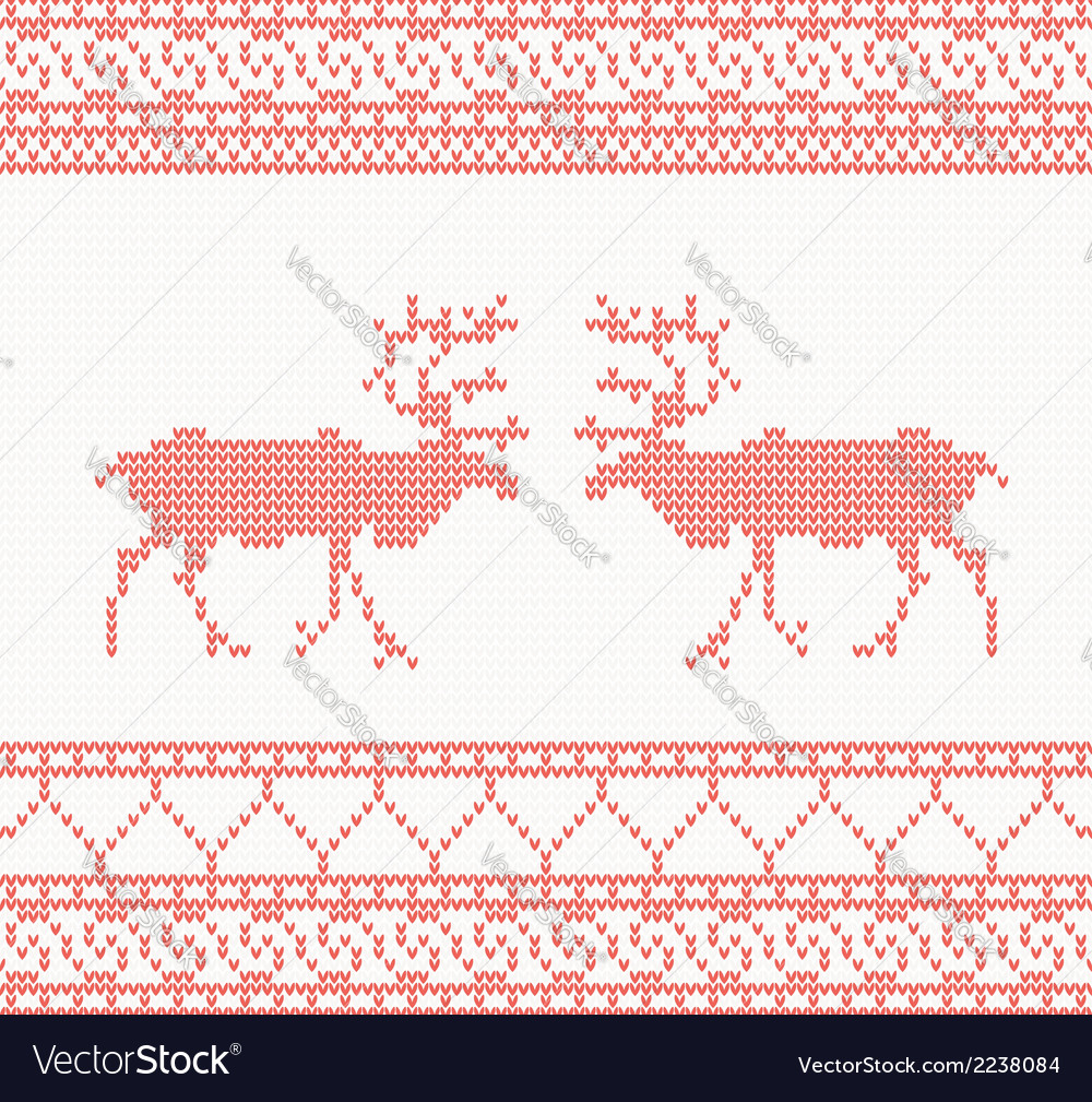 Red knitted pattern with deer vector | Price: 1 Credit (USD $1)