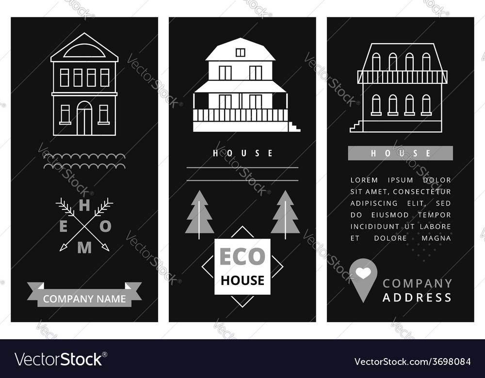 Templates business card with houses vector | Price: 1 Credit (USD $1)