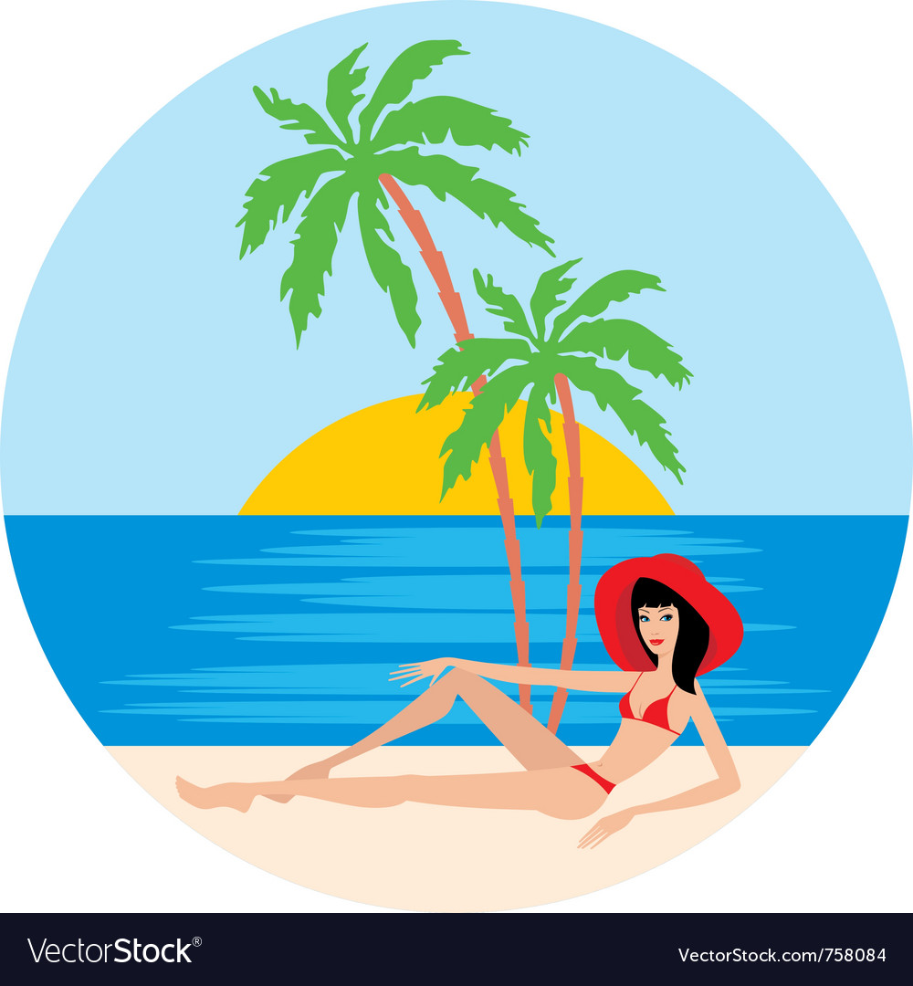 Tropical beach with palm trees and woman vector | Price: 1 Credit (USD $1)