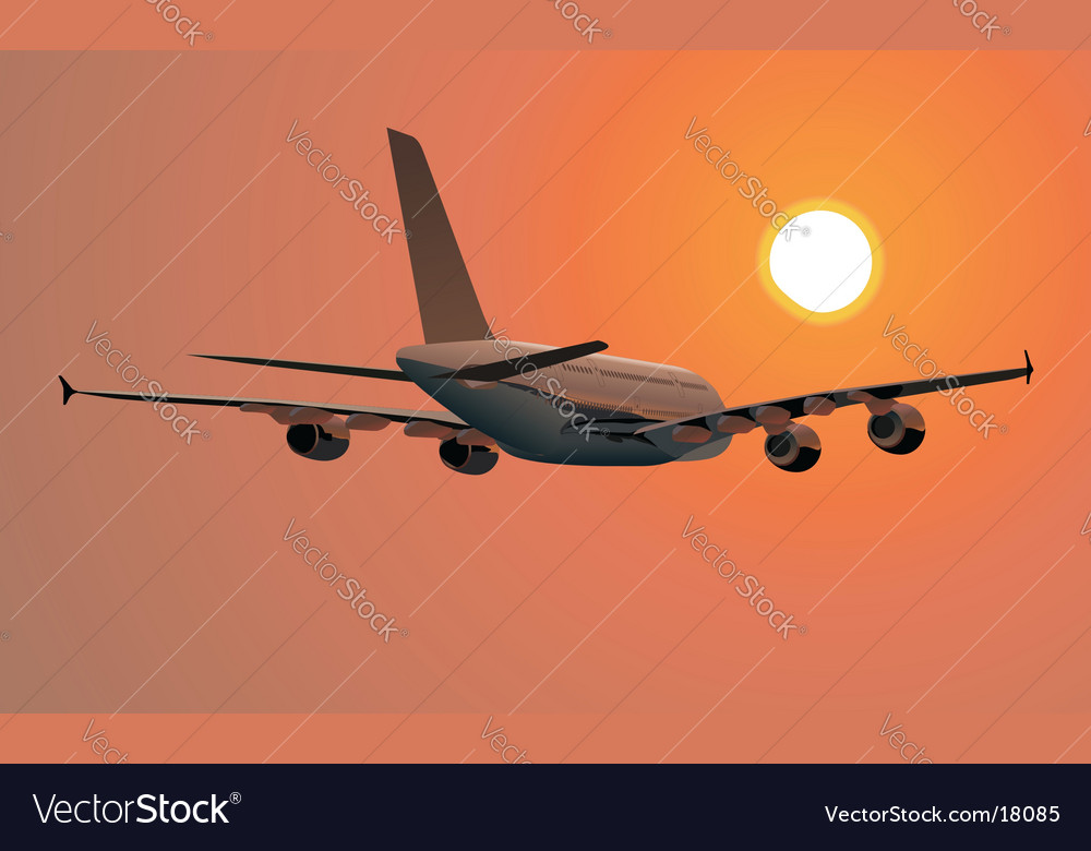 A-380 silhouette at sunset vector | Price: 3 Credit (USD $3)