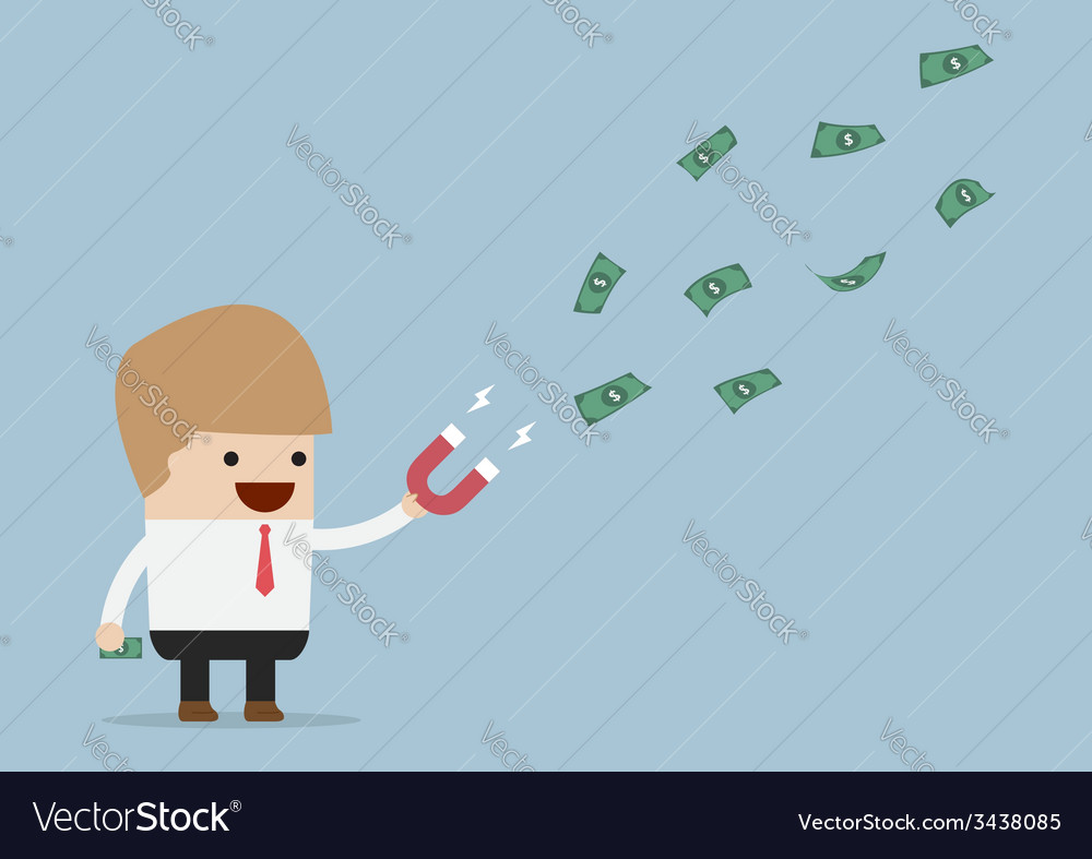 Businessman using magnet to attracts money vector | Price: 1 Credit (USD $1)