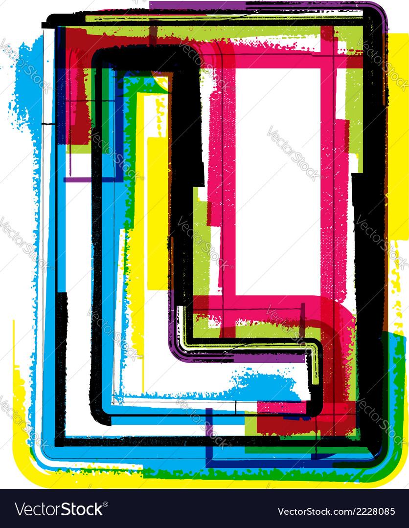 Colorful grunge font letter l vector | Price: 1 Credit (USD $1)
