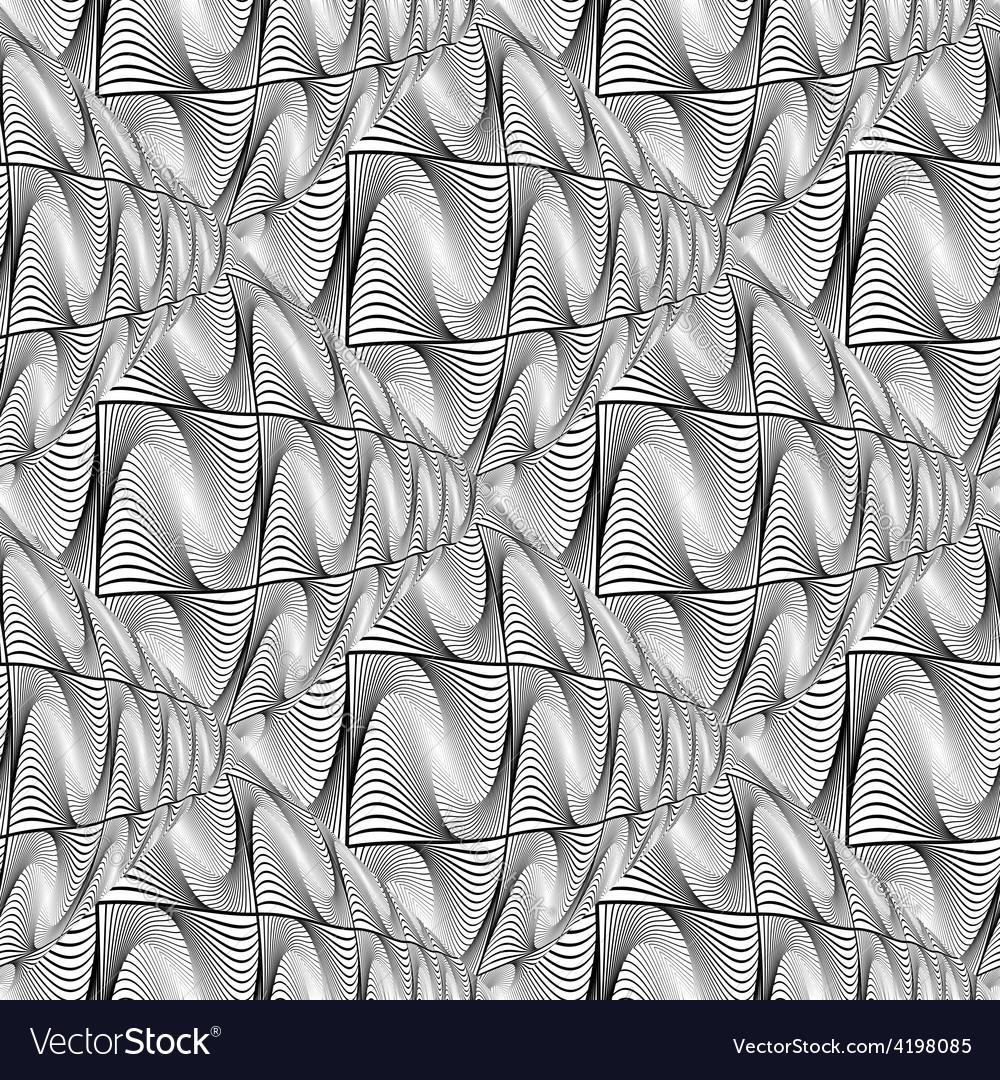 Design seamless monochrome warped wave pattern vector | Price: 1 Credit (USD $1)
