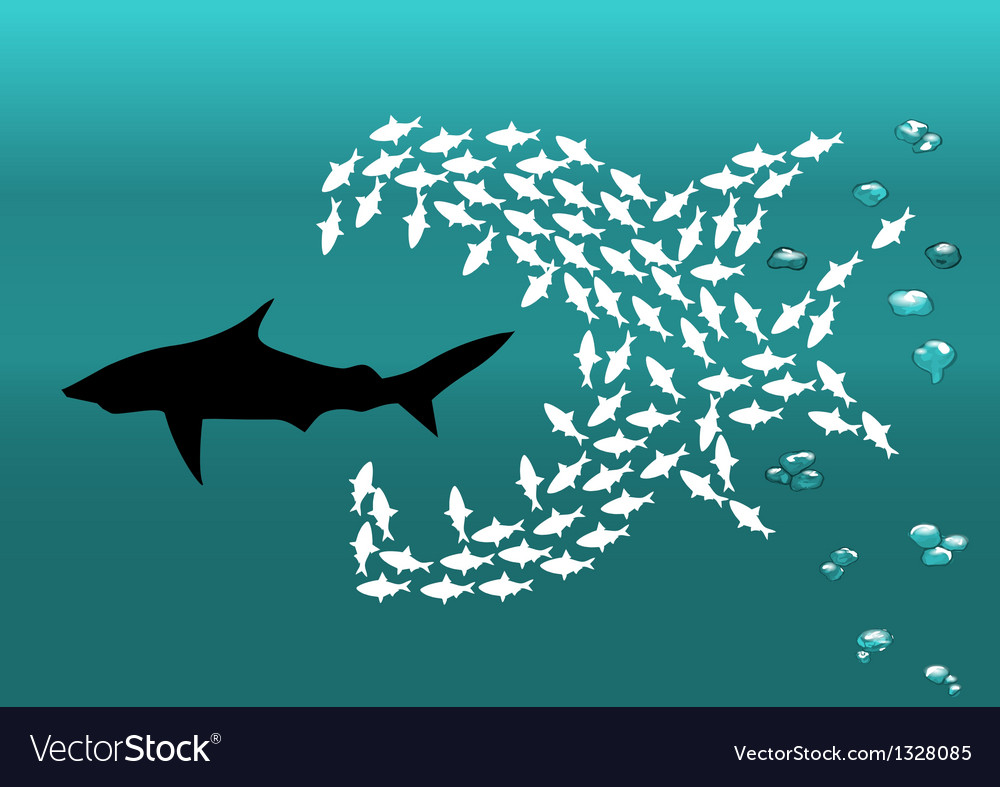 Flock of small fish and shark vector | Price: 1 Credit (USD $1)