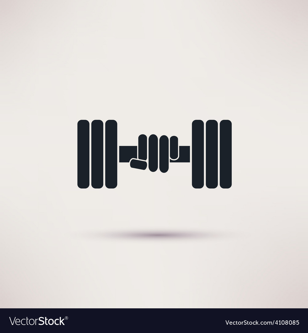 Hand holding weight with dumbbells icon vector | Price: 1 Credit (USD $1)
