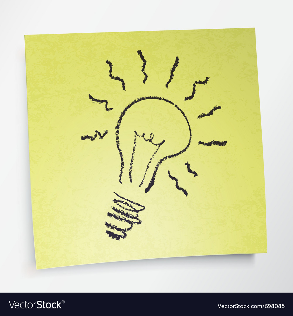Idea symbol on sticky yellow paper vector | Price: 1 Credit (USD $1)