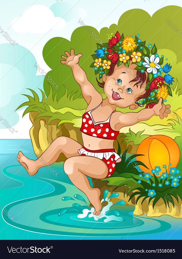 Little girl bathe in sunshine vacation theme vector | Price: 3 Credit (USD $3)