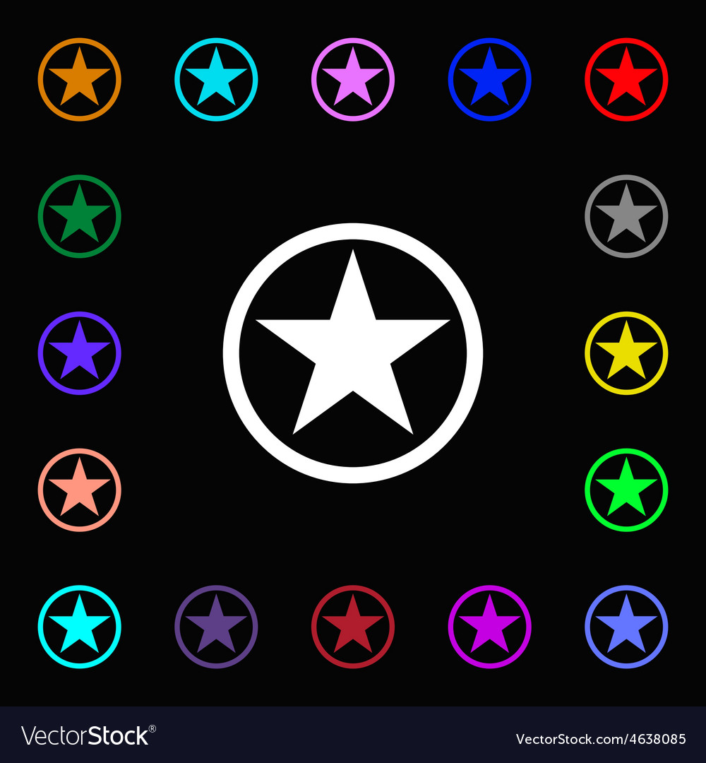 Star favorite icon sign lots of colorful symbols vector | Price: 1 Credit (USD $1)