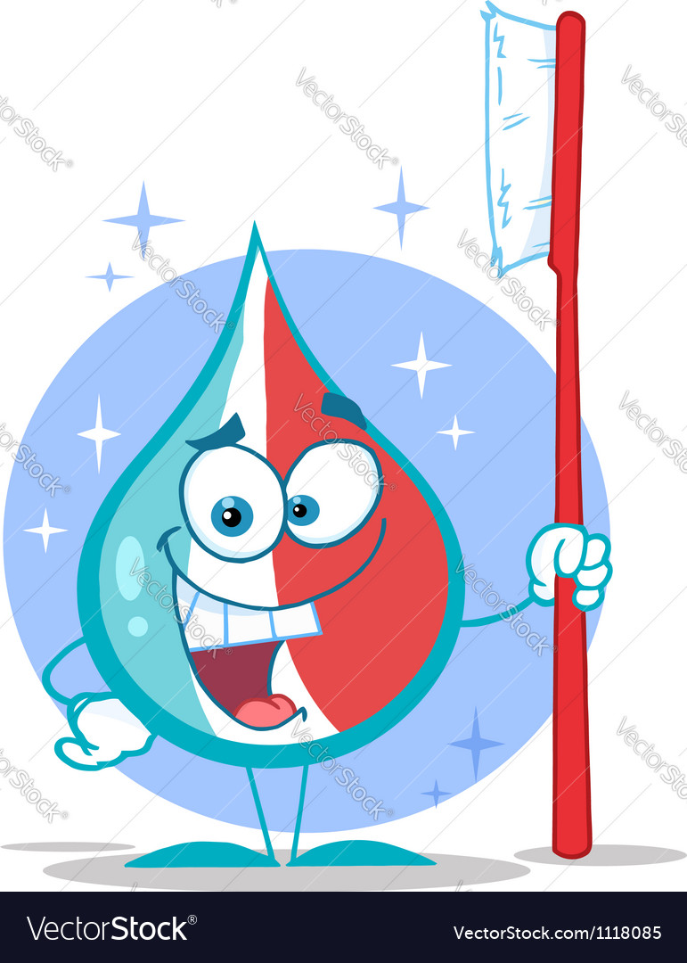 Toothpaste cartoon character holding a toothbrush vector | Price: 1 Credit (USD $1)