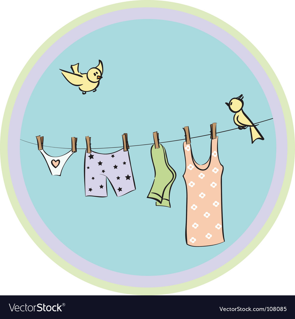 Underwear dries on a cord vector | Price: 1 Credit (USD $1)
