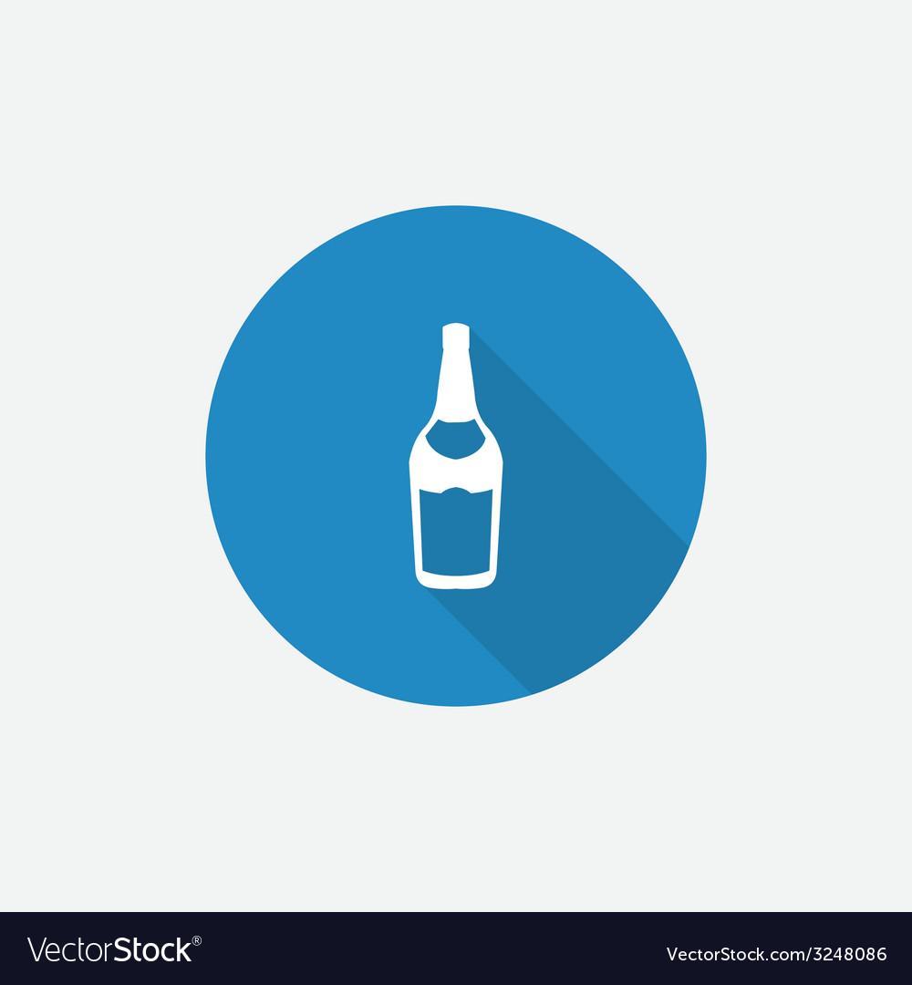 Beer bottle flat blue simple icon with long shadow vector | Price: 1 Credit (USD $1)