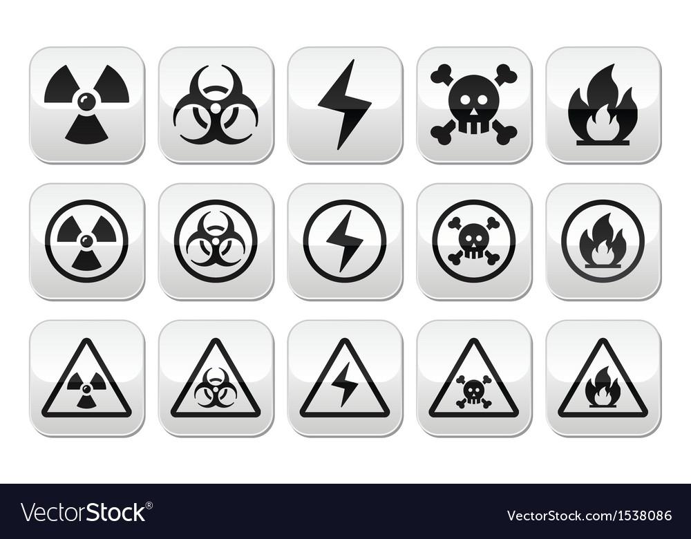 Danger risk warning buttons set vector | Price: 1 Credit (USD $1)