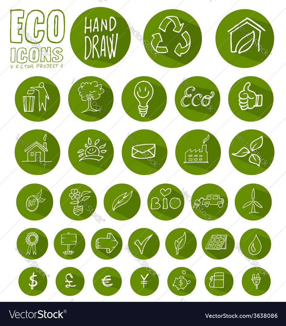 Eco icon button set vector | Price: 1 Credit (USD $1)