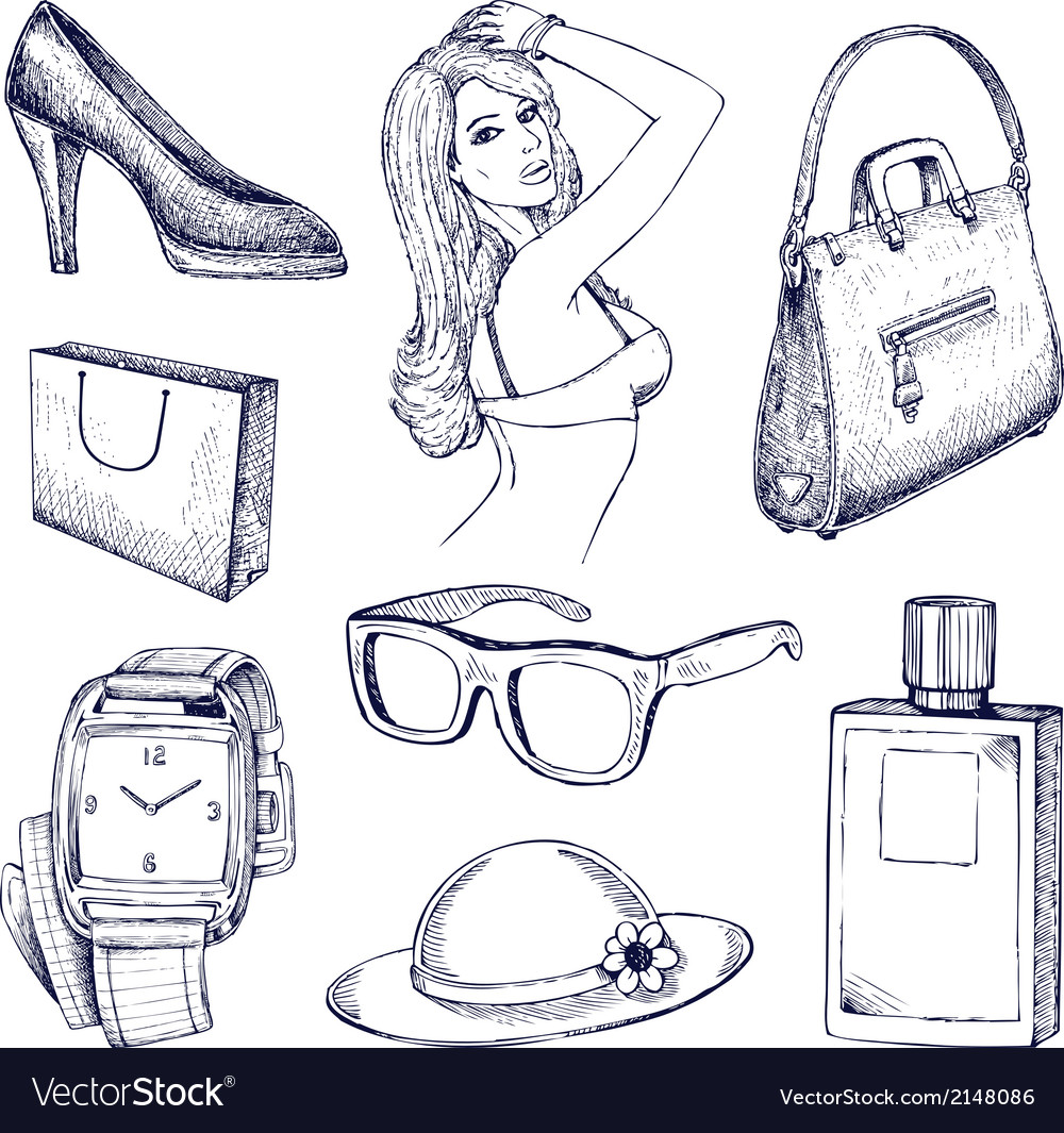 Hand drawn fashion elements vector | Price: 1 Credit (USD $1)