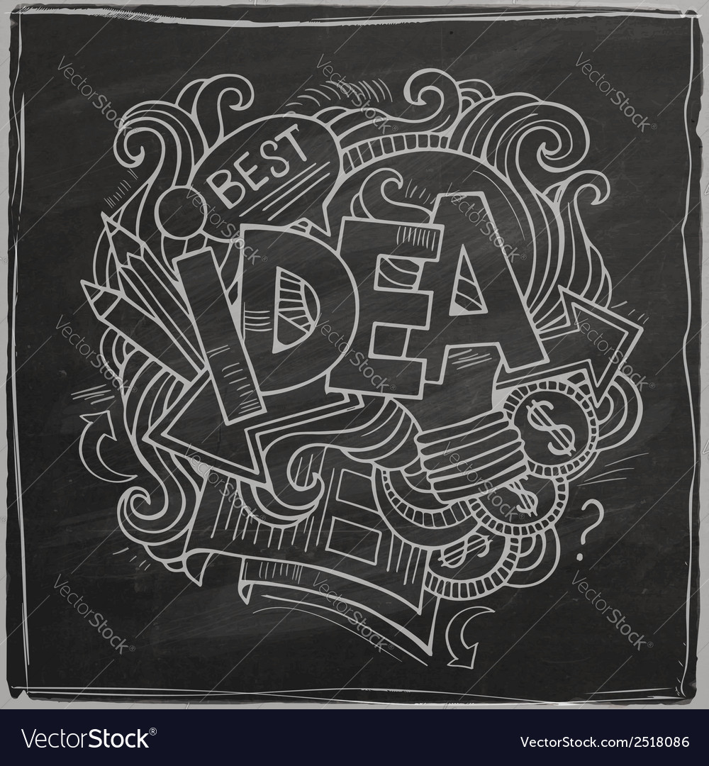Idea hand lettering on chalkboard vector | Price: 1 Credit (USD $1)