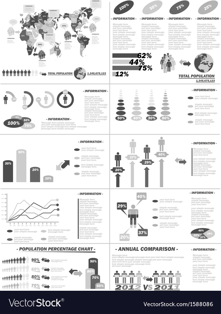 Infographic demographics web elements grey vector | Price: 1 Credit (USD $1)