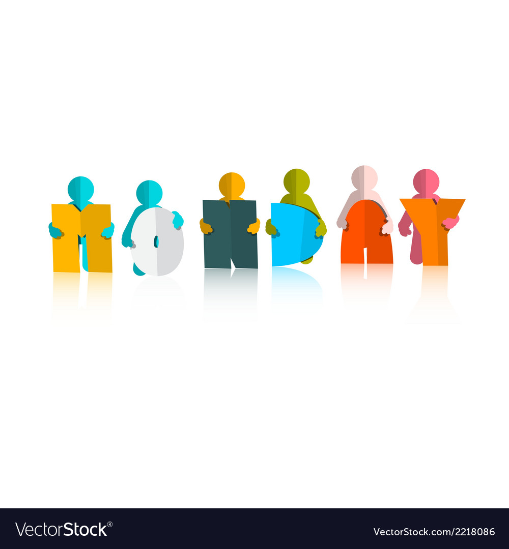 Monday colorful title - paper cut people and vector | Price: 1 Credit (USD $1)