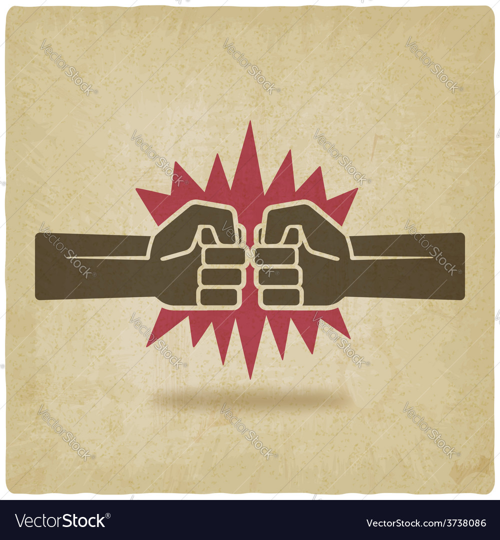Punch fists fight symbol old background vector | Price: 1 Credit (USD $1)