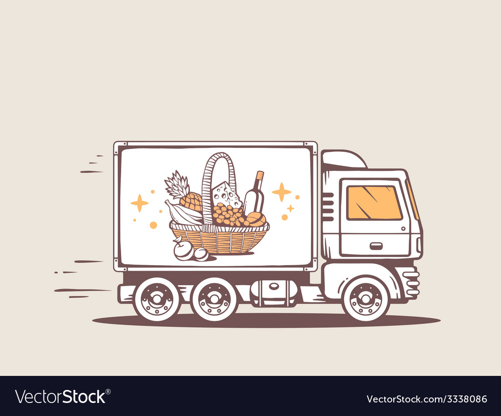 Truck free and fast delivering basket wit vector   Price: 3 Credit (USD $3)