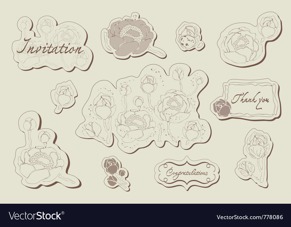 Vintage flower set in vector | Price: 1 Credit (USD $1)