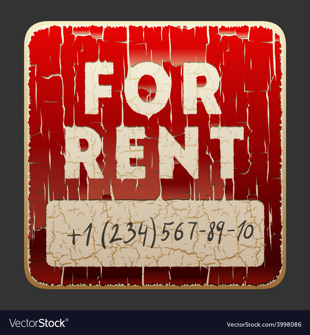 Vintage sign with the inscription for rent vector | Price: 1 Credit (USD $1)