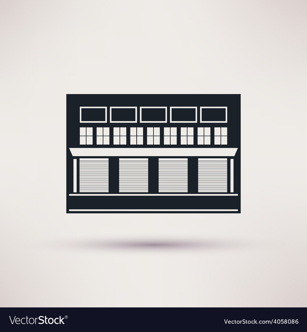 Warehouse building is an icon flat vector | Price: 1 Credit (USD $1)