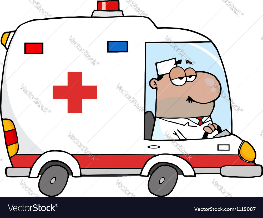 African american doctor driving ambulance vector | Price: 1 Credit (USD $1)