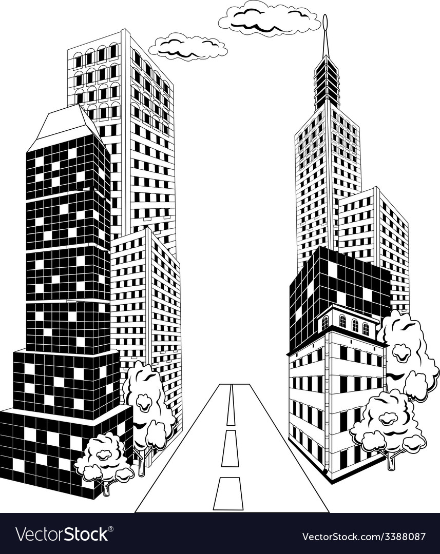 Cartoon city downtown vector | Price: 1 Credit (USD $1)
