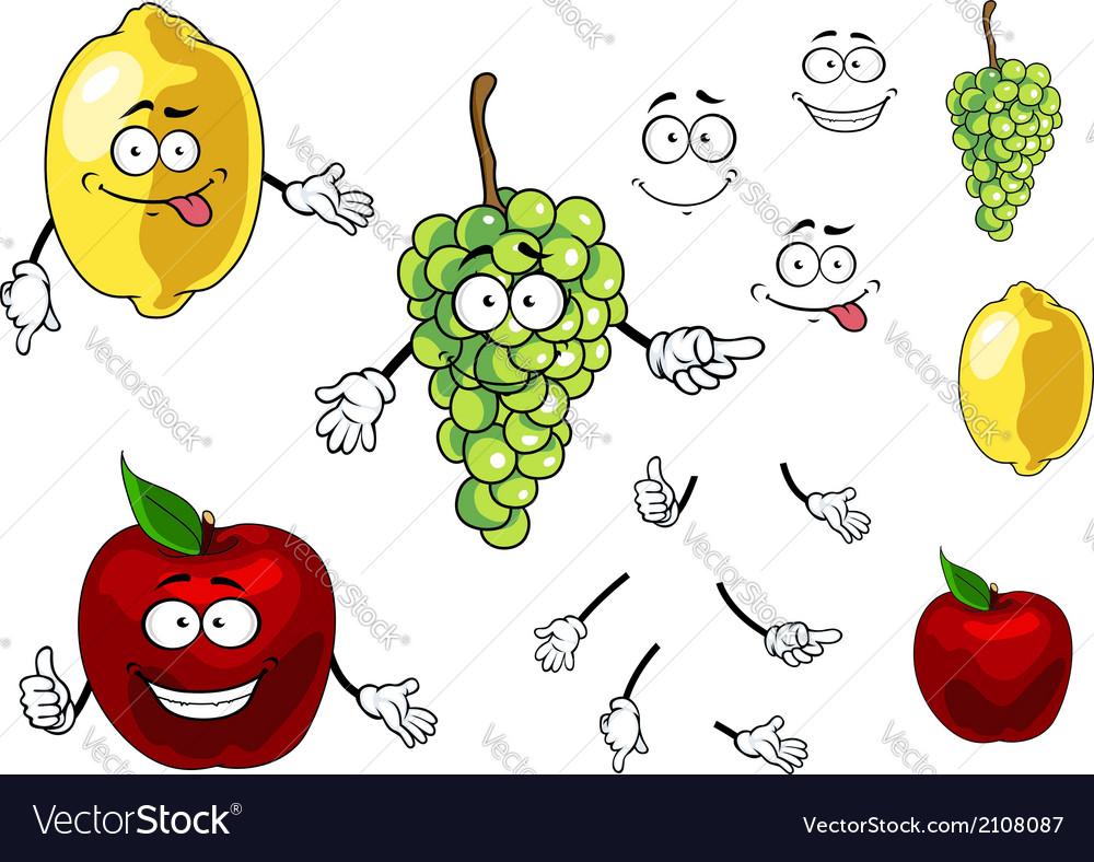 Cartoon smiling apple grape and lemon fruits vector | Price: 1 Credit (USD $1)