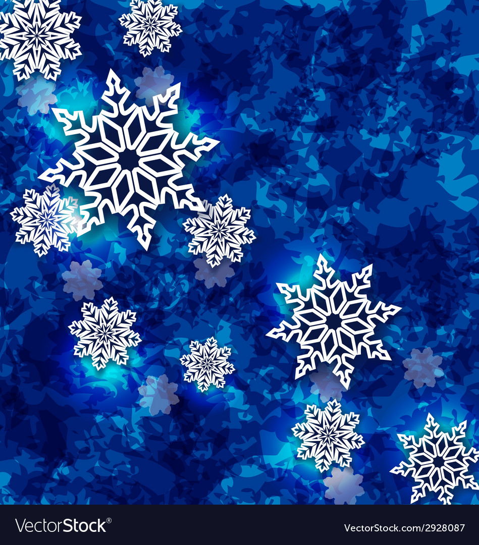 Christmas set snowflakes on dark blue grunge vector | Price: 1 Credit (USD $1)