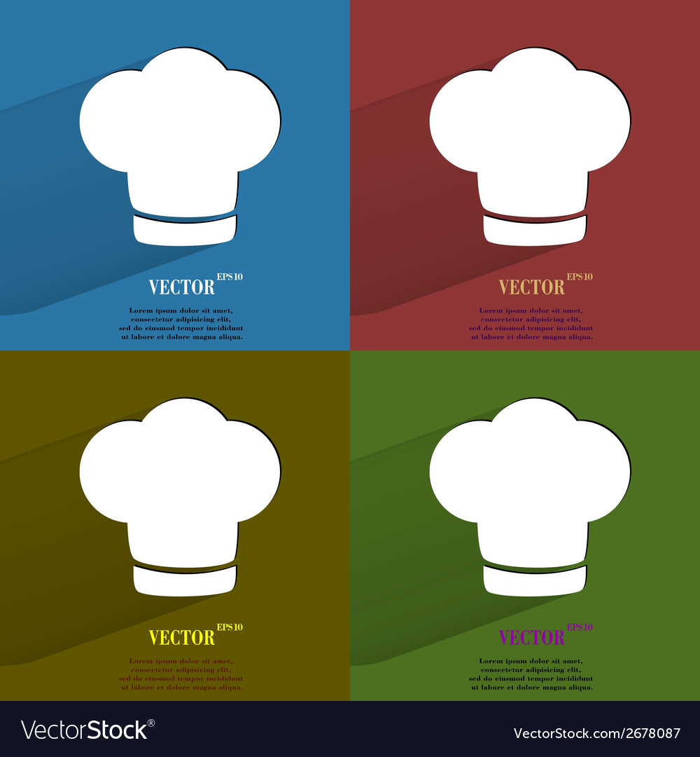 Color set chef cap cooking flat modern web button vector | Price: 1 Credit (USD $1)