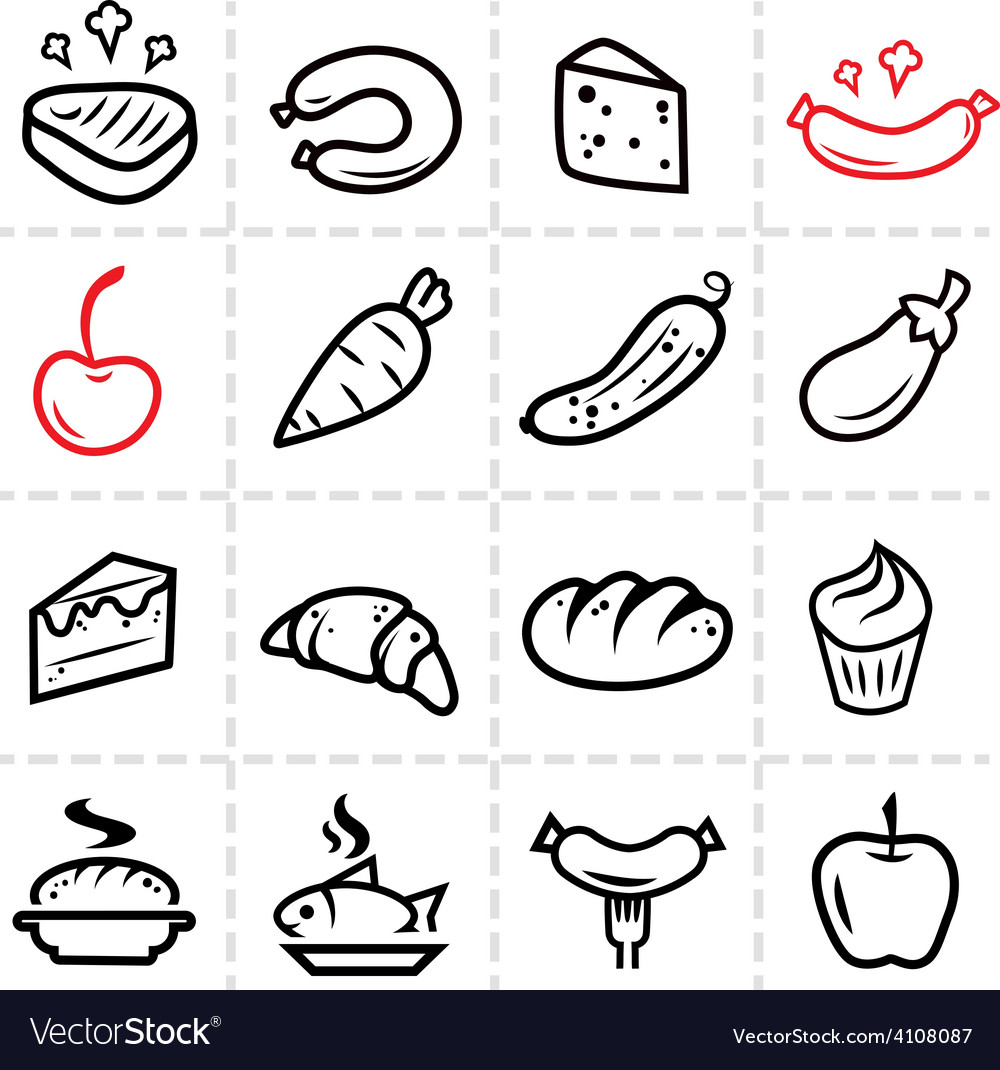 Food line icons vector | Price: 1 Credit (USD $1)