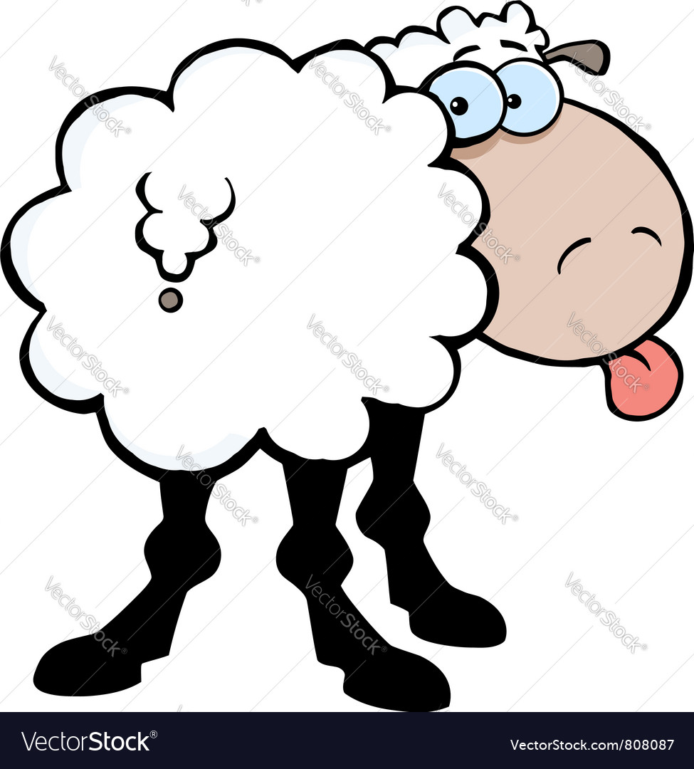 Funky sheep sticking out his tongue vector | Price: 1 Credit (USD $1)