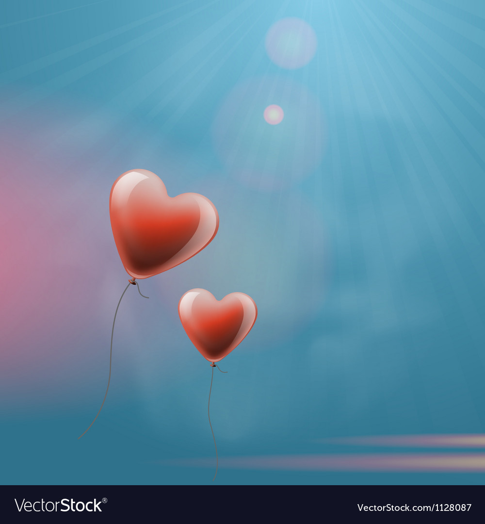Heart balloons in the sky vector | Price: 1 Credit (USD $1)