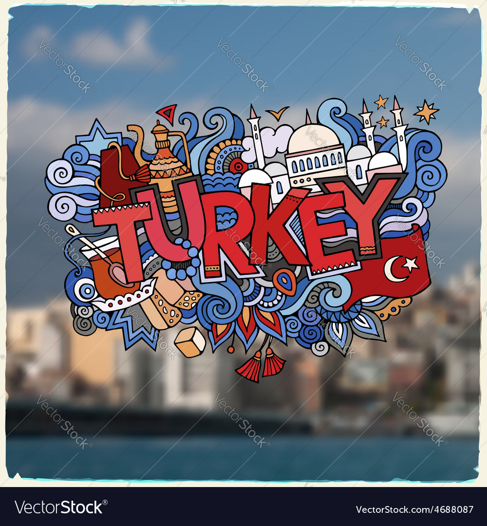 Turkey hand lettering and doodles elements vector | Price: 1 Credit (USD $1)