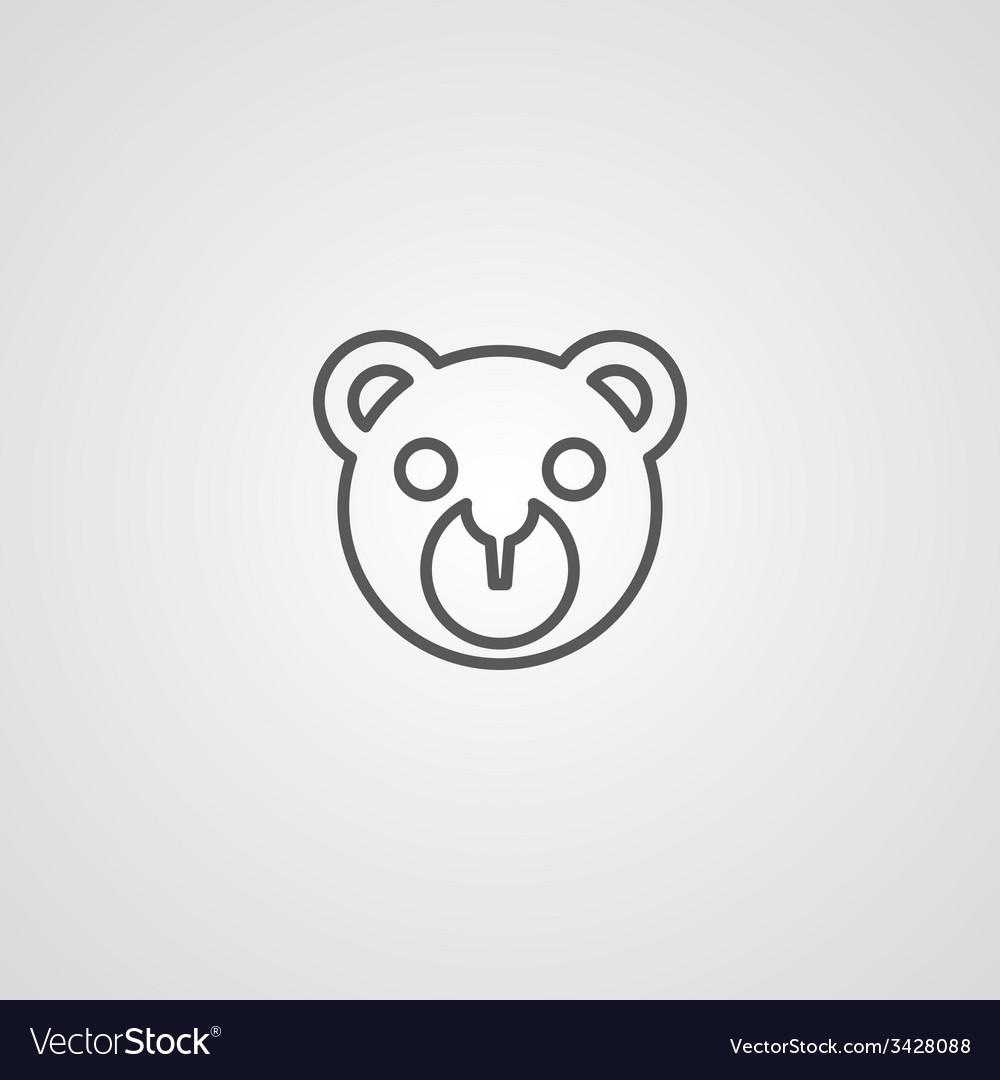Bear toy outline symbol dark on white background vector | Price: 1 Credit (USD $1)