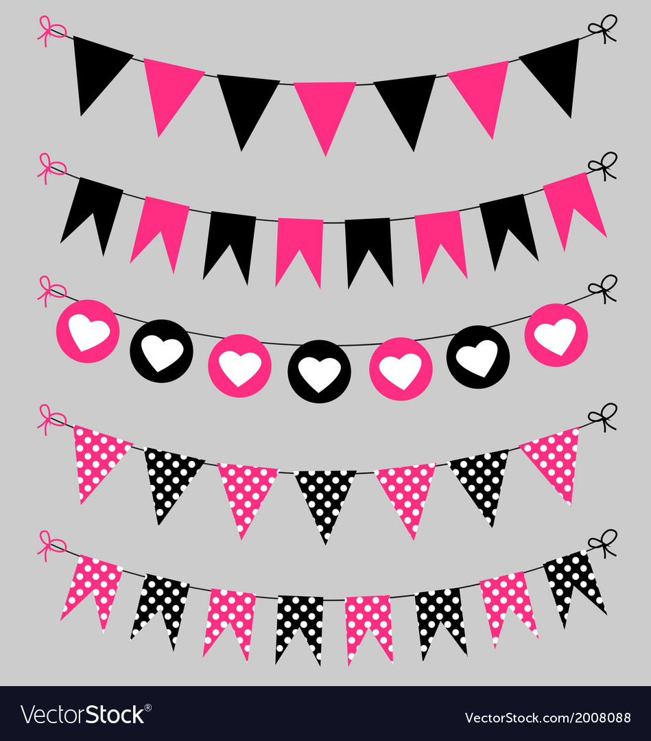 Bunting set pink and black for scrapbook vector