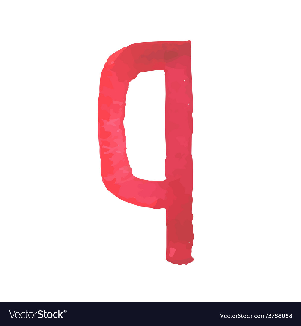 Letter q colorful watercolor aquarelle font type vector | Price: 1 Credit (USD $1)